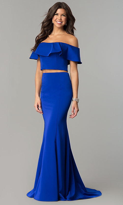 Image of long two-piece ruffled off-the-shoulder prom dress. Style: DJ-A3416 Front Image