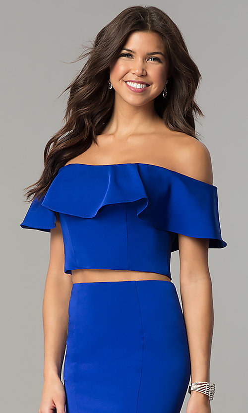 Image of long two-piece ruffled off-the-shoulder prom dress. Style: DJ-A3416 Detail Image 1