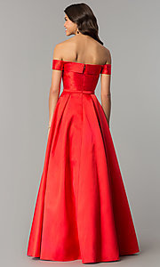 Image of off-the-shoulder formal ball gown with side pockets. Style: TE-7128 Back Image