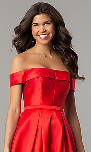 Image of off-the-shoulder formal ball gown with side pockets. Style: TE-7128 Detail Image 1