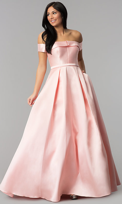 Image of off-the-shoulder formal ball gown with side pockets. Style: TE-7128 Detail Image 2