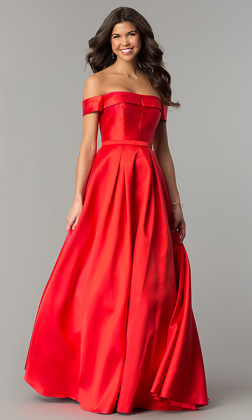 Image of off-the-shoulder formal ball gown with side pockets. Style: TE-7128 Front Image