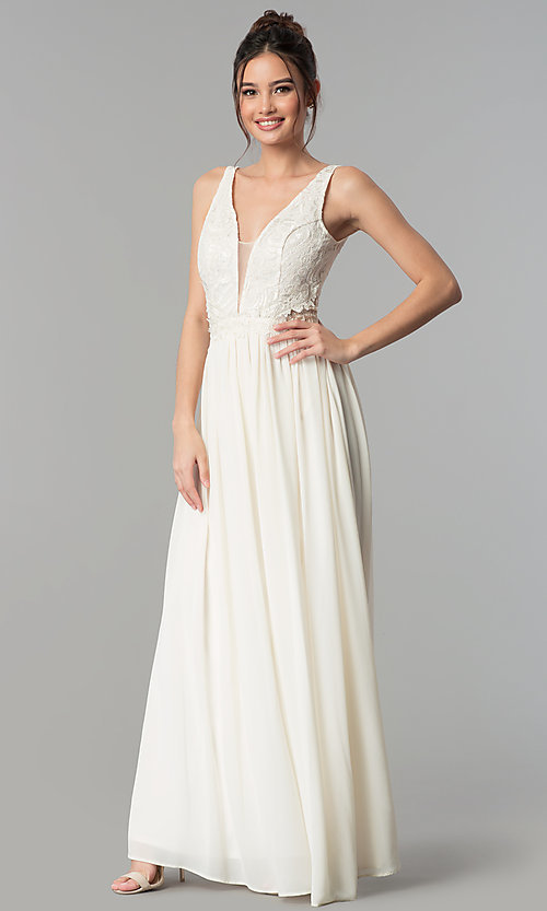 Image of v-neck long chiffon prom dress with sheer lace back. Style: SOI-M17349 Front Image