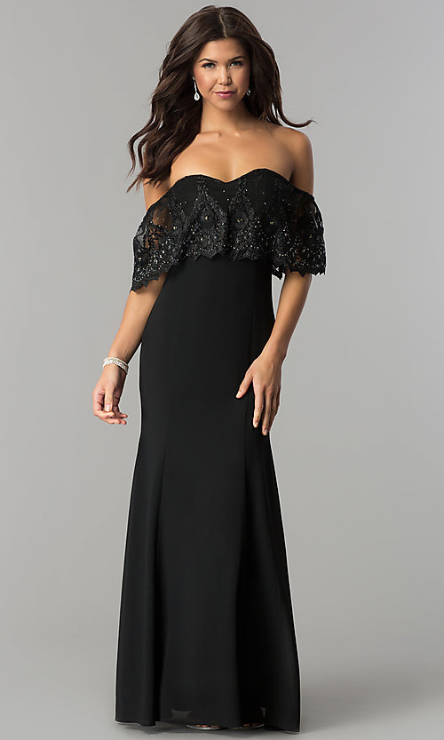 36386652159c Image of long prom dress with off-the-shoulder lace flounce. Style: