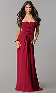 Image of strapless long formal dress with knotted bodice. Style: SOI-M17241 Front Image