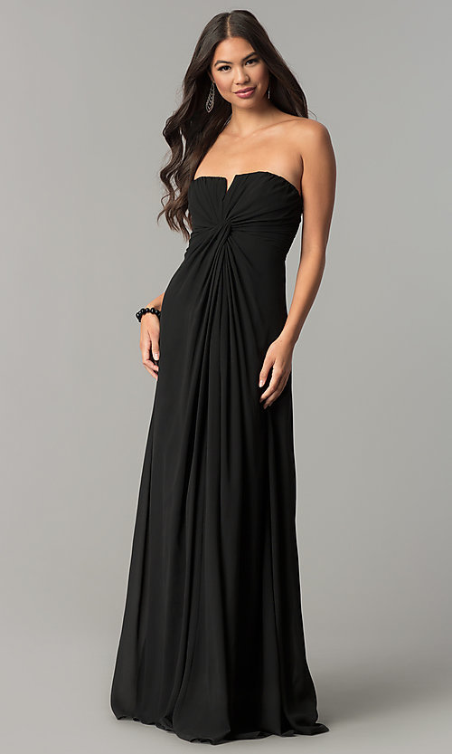Image of strapless long formal dress with knotted bodice. Style: SOI-M17241 Detail Image 2