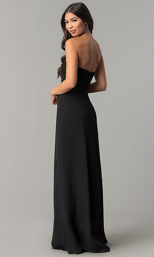 Image of strapless long formal dress with knotted bodice. Style: SOI-M17241 Detail Image 3