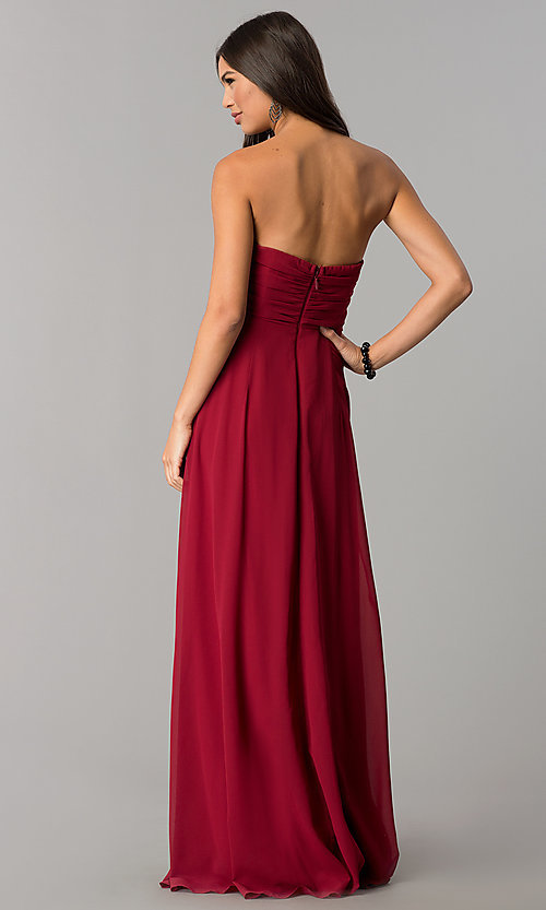 Image of strapless long formal dress with knotted bodice. Style: SOI-M17241 Back Image