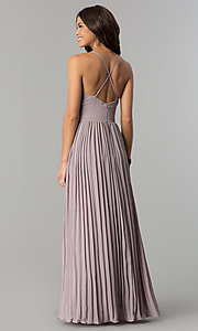 Image of long chiffon empire-waist prom dress with pleating. Style: SOI-D16411 Back Image