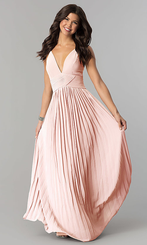 Image of long chiffon empire-waist prom dress with pleating. Style: SOI-D16411 Front Image