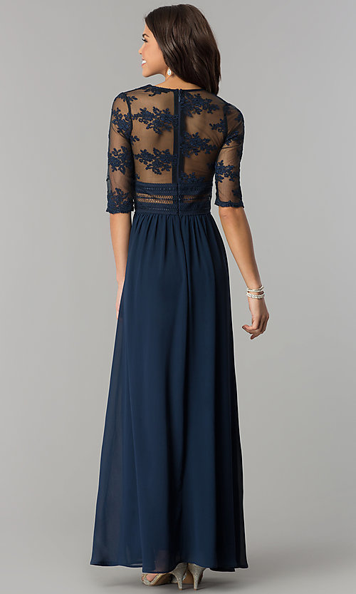 Image of embroidered-bodice sleeved long chiffon prom dress. Style: SOI-D16727 Back Image