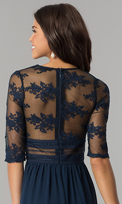Image of embroidered-bodice sleeved long chiffon prom dress. Style: SOI-D16727 Detail Image 2