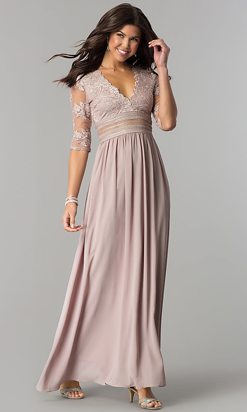 Image of embroidered-bodice sleeved long chiffon prom dress. Style: SOI-D16727 Front Image