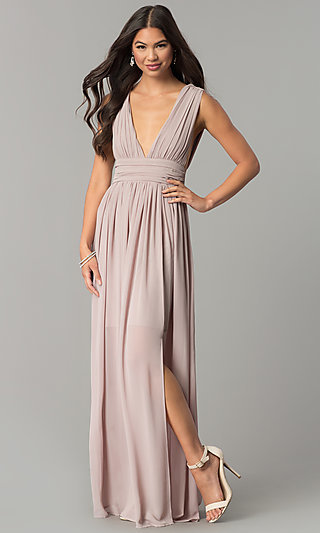 Long Chiffon Prom Dress with Slit and Deep V-Neck