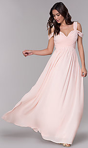 Image of chiffon cold-shoulder long a-line formal dress. Style: SOI-M17252 Detail Image 2