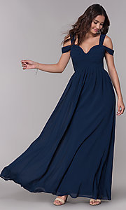 Image of chiffon cold-shoulder long a-line formal dress. Style: SOI-M17252 Front Image