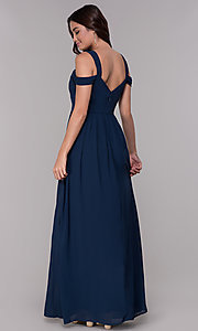 Image of chiffon cold-shoulder long a-line formal dress. Style: SOI-M17252 Back Image
