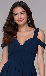 Image of chiffon cold-shoulder long a-line formal dress. Style: SOI-M17252 Detail Image 1