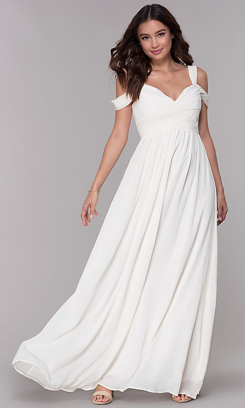 Image of chiffon cold-shoulder long a-line formal dress. Style: SOI-M17252 Detail Image 3