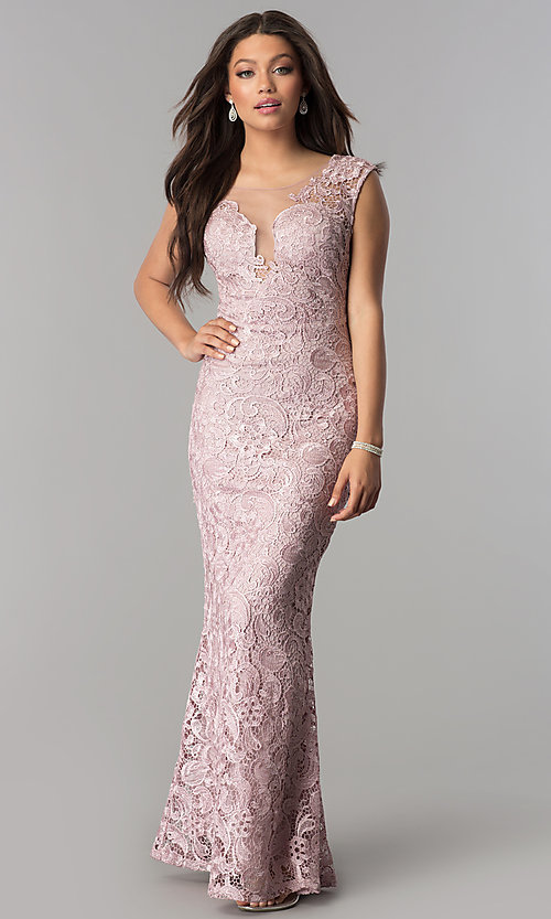 Long Lace Formal Dress With Sheer Back
