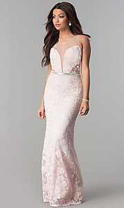 Image of deep-v-neck long lace prom dress with sheer back. Style: SOI-D16648 Detail Image 1