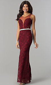 Image of deep-v-neck long lace prom dress with sheer back. Style: SOI-D16648 Detail Image 3