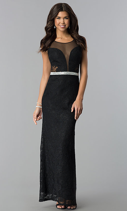 Image of deep-v-neck long lace prom dress with sheer back. Style: SOI-D16648 Front Image