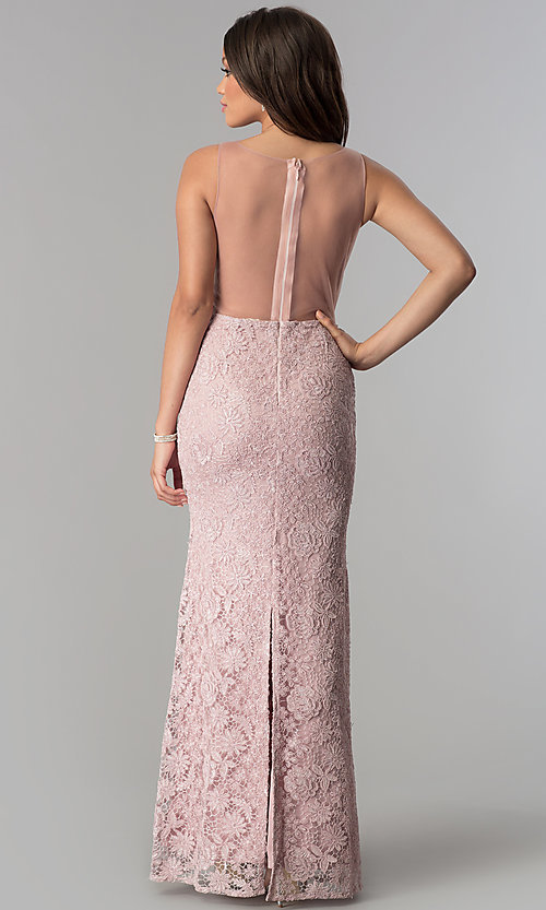 Image of deep-v-neck long lace prom dress with sheer back. Style: SOI-D16648 Back Image