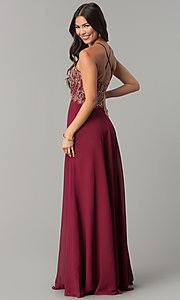 Image of long chiffon formal prom dress with embroidery. Style: SOI-M17308 Back Image