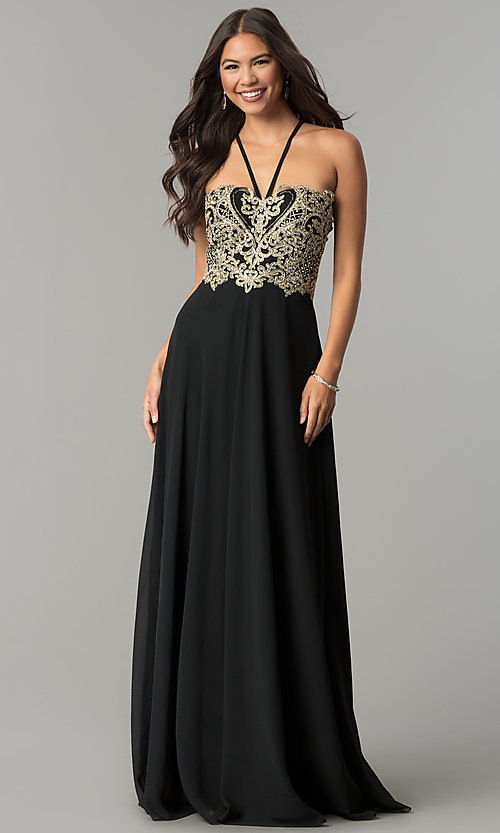 Image of long chiffon formal prom dress with embroidery. Style: SOI-M17308 Front Image