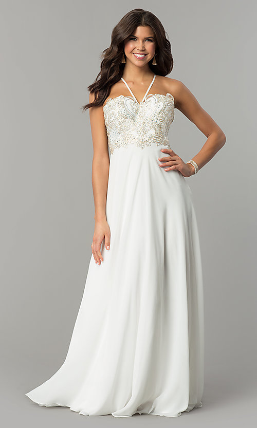 Image of long chiffon formal prom dress with embroidery. Style: SOI-M17308 Detail Image 2