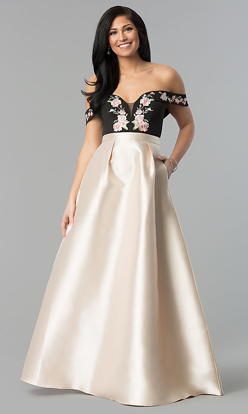 Image of embroidered-bodice off-the-shoulder long prom dress. Style: SOI-M17367 Front Image