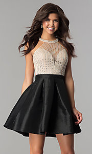 Image of short taffeta party dress with embellished bodice. Style: SOI-S17303 Detail Image 1