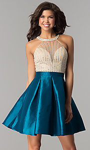 Image of short taffeta party dress with embellished bodice. Style: SOI-S17303 Detail Image 3