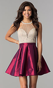 Image of short taffeta party dress with embellished bodice. Style: SOI-S17303 Front Image