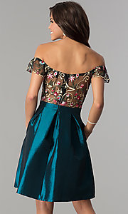 Image of short off-the-shoulder party dress with pockets. Style: SOI-S17305 Back Image