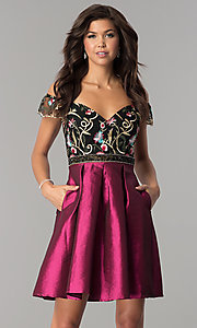 Image of short off-the-shoulder party dress with pockets. Style: SOI-S17305 Front Image