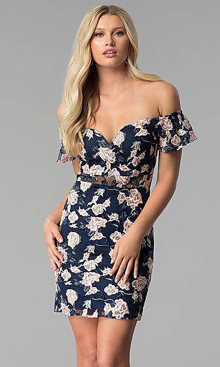 Floral-Embroidered Off-Shoulder Short Party Dress