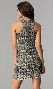 Image of short black cocktail party dress with embroidery. Style: SOI-D15971 Back Image