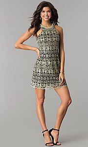 Image of short black cocktail party dress with embroidery. Style: SOI-D15971 Detail Image 2