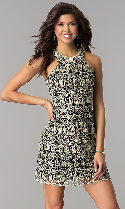 Image of short black cocktail party dress with embroidery. Style: SOI-D15971 Front Image