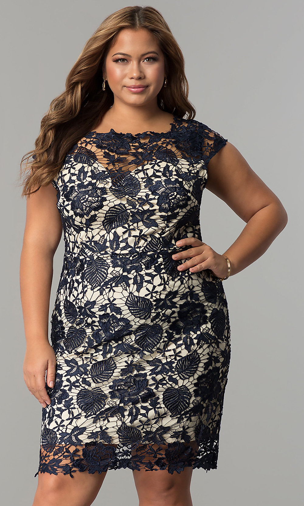 Cap-Sleeve Plus-Size Short Lace Wedding-Guest Dress