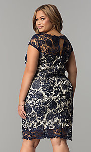 Image of cap-sleeve plus-size short lace wedding-guest dress. Style: SOI-PD16686 Back Image