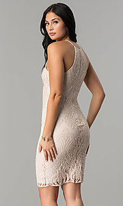 Image of short cocktail party dress with sequin embroidery. Style: JTM-JMD7958 Back Image