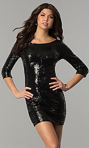 Image of sequin short holiday party dress with sleeves. Style: JTM-JMD4982 Front Image