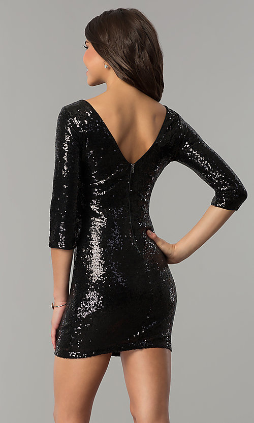 Image of sequin short holiday party dress with sleeves. Style: JTM-JMD4982 Back Image