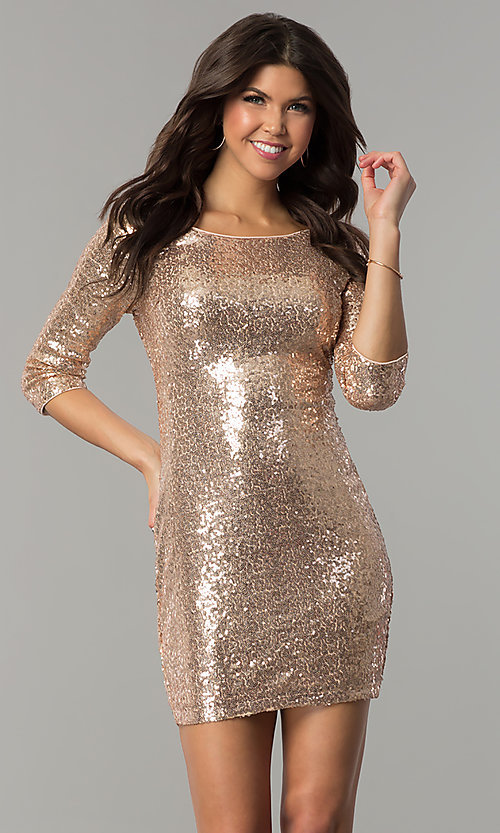 Image of sequin short holiday party dress with sleeves. Style: JTM-JMD4982 Detail Image 2
