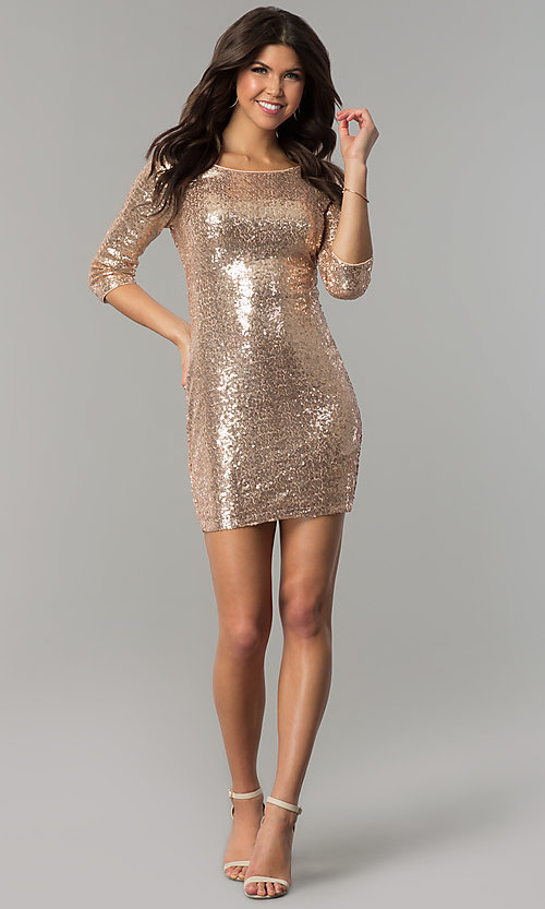 Image of sequin short holiday party dress with sleeves. Style: JTM-JMD4982 Detail Image 3