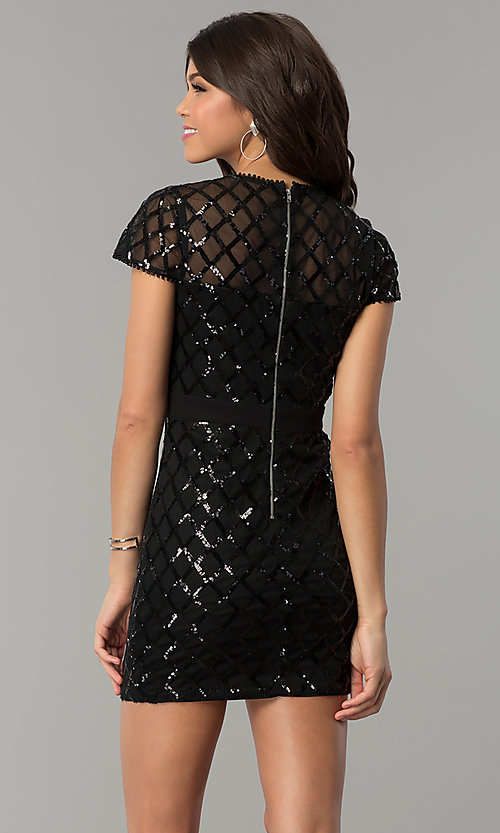 Image of short black sequin holiday party dress with sleeves. Style: JTM-JMD8279 Back Image