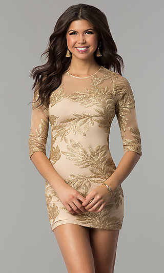 Gold cocktail dress with sleeves